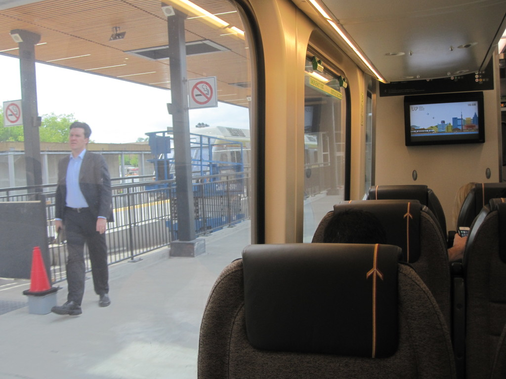 (158k, 1024x768)<br><b>Country:</b> Canada<br><b>City:</b> Toronto<br><b>System:</b> Union-Pearson Express<br><b>Photo by:</b> Collection of nycsubway.org<br><b>Date:</b> 6/22/2015<br><b>Notes:</b> At Bloor station, looking across the platform to a train on the other track.  These two trains are running on the left.<br><b>Viewed (this week/total):</b> 1 / 966
