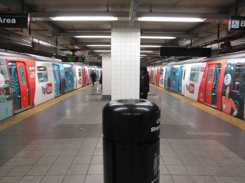 (116k, 1024x768)<br><b>Country:</b> United States<br><b>City:</b> New York<br><b>System:</b> New York City Transit<br><b>Line:</b> BMT Canarsie Line<br><b>Location:</b> 8th Avenue <br><b>Route:</b> L<br><b>Car:</b> R-143 (Kawasaki, 2001-2002) 8117 <br><b>Photo by:</b> Robbie Rosenfeld<br><b>Date:</b> 11/5/2014<br><b>Notes:</b> Youtube wrap<br><b>Viewed (this week/total):</b> 0 / 1152