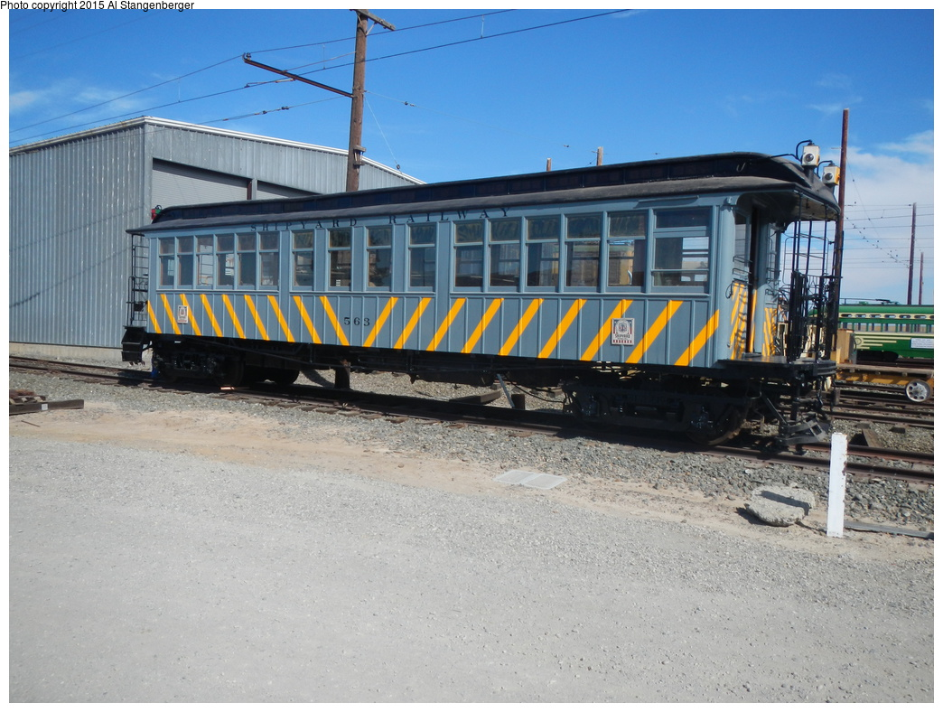 (397k, 1044x788)<br><b>Country:</b> United States<br><b>City:</b> Rio Vista Junction, CA<br><b>System:</b> Western Railway Museum <br><b>Car:</b>  563 <br><b>Photo by:</b> Al Stangenberger<br><b>Date:</b> 9/13/2014<br><b>Notes:</b> Recently restored Shipyard Railway (Key System) 563 (ex Manhattan Railway 889) to WWII appearance.<br><b>Viewed (this week/total):</b> 1 / 1636