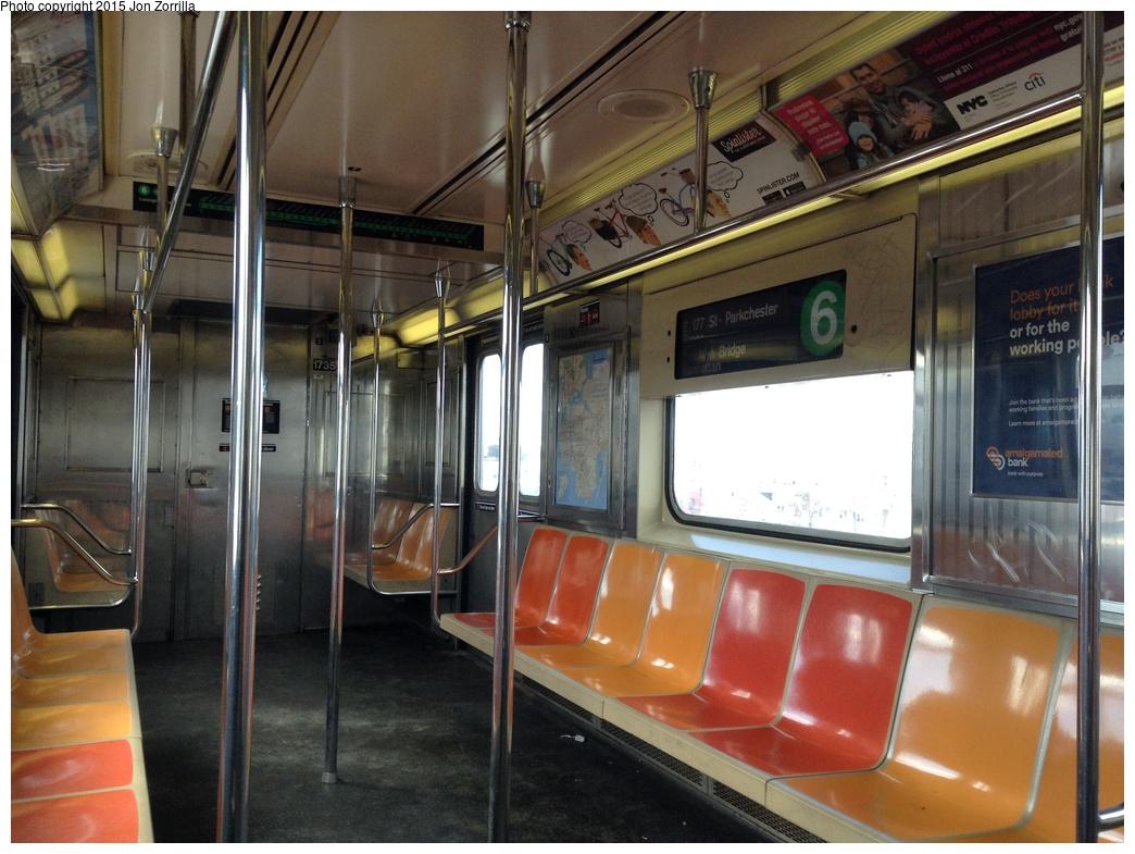 (302k, 1044x785)<br><b>Country:</b> United States<br><b>City:</b> New York<br><b>System:</b> New York City Transit<br><b>Route:</b> 6<br><b>Car:</b> R-62A (Bombardier, 1984-1987) 1735 <br><b>Photo by:</b> Jon Zorrilla<br><b>Date:</b> 2/23/2015<br><b>Viewed (this week/total):</b> 4 / 1080