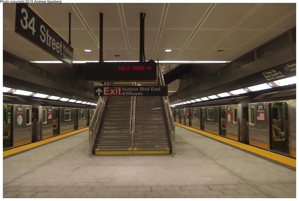 (256k, 1044x703)<br><b>Country:</b> United States<br><b>City:</b> New York<br><b>System:</b> New York City Transit<br><b>Line:</b> IRT Flushing Line<br><b>Location:</b> 34th Street-Hudson Yards <br><b>Route:</b> 7<br><b>Car:</b> R-62A (Bombardier, 1984-1987)  1903/1905/2111/1917 <br><b>Photo by:</b> Andrew Sparberg<br><b>Date:</b> 9/21/2015<br><b>Viewed (this week/total):</b> 0 / 1735