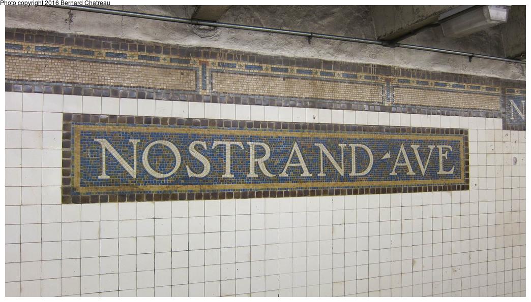 (286k, 1044x595)<br><b>Country:</b> United States<br><b>City:</b> New York<br><b>System:</b> New York City Transit<br><b>Line:</b> IRT Brooklyn Line<br><b>Location:</b> Nostrand Avenue<br><b>Photo by:</b> Bernard Chatreau<br><b>Date:</b> 10/5/2011<br><b>Viewed (this week/total):</b> 0 / 1160