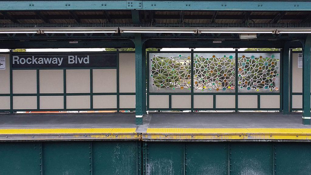 (161k, 1024x576)<br><b>Country:</b> United States<br><b>City:</b> New York<br><b>System:</b> New York City Transit<br><b>Line:</b> IND Fulton Street Line<br><b>Location:</b> Rockaway Boulevard <br><b>Photo by:</b> John Barnes<br><b>Date:</b> 9/9/2015<br><b>Artwork:</b> <i>Connections</i>, Ray King (2015).<br><b>Viewed (this week/total):</b> 0 / 658