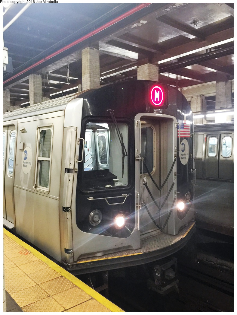 (330k, 788x1044)<br><b>Country:</b> United States<br><b>City:</b> New York<br><b>System:</b> New York City Transit<br><b>Line:</b> BMT Nassau Street/Jamaica Line<br><b>Location:</b> Chambers Street <br><b>Route:</b> M<br><b>Car:</b> R-160A-1 (Alstom, 2005-2008, 4 car sets)  8452 <br><b>Photo by:</b> Joe Mirabella<br><b>Date:</b> 10/10/2015<br><b>Viewed (this week/total):</b> 3 / 759