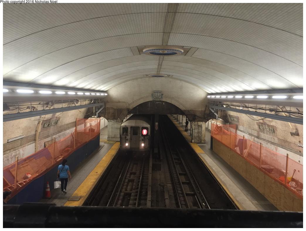 (279k, 1044x788)<br><b>Country:</b> United States<br><b>City:</b> New York<br><b>System:</b> New York City Transit<br><b>Line:</b> IRT West Side Line<br><b>Location:</b> 168th Street <br><b>Route:</b> 1<br><b>Car:</b> R-62A (Bombardier, 1984-1987)  2491 <br><b>Photo by:</b> Nicholas Noel<br><b>Date:</b> 5/25/2016<br><b>Notes:</b> Scaffolding has been removed showing renovated ceiling<br><b>Viewed (this week/total):</b> 10 / 1467