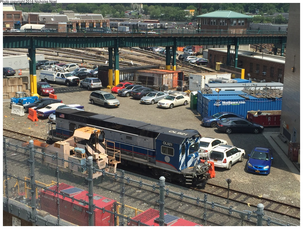 (460k, 1044x788)<br><b>Country:</b> United States<br><b>City:</b> New York<br><b>System:</b> New York City Transit<br><b>Location:</b> 207th Street Yard<br><b>Car:</b> R-156 Diesel-Electric Locomotive (MPI, 2012-2013) 921 <br><b>Photo by:</b> Nicholas Noel<br><b>Date:</b> 5/25/2016<br><b>Notes:</b> With JB2 and R-110A Pump Train (way down in front)<br><b>Viewed (this week/total):</b> 4 / 991