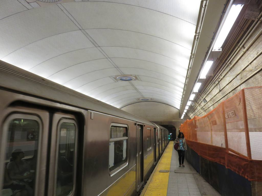 (96k, 1024x768)<br><b>Country:</b> United States<br><b>City:</b> New York<br><b>System:</b> New York City Transit<br><b>Line:</b> IRT West Side Line<br><b>Location:</b> 168th Street <br><b>Photo by:</b> Robbie Rosenfeld<br><b>Date:</b> 5/25/2016<br><b>Notes:</b> Scaffolding has been removed showing renovated ceiling<br><b>Viewed (this week/total):</b> 1 / 972
