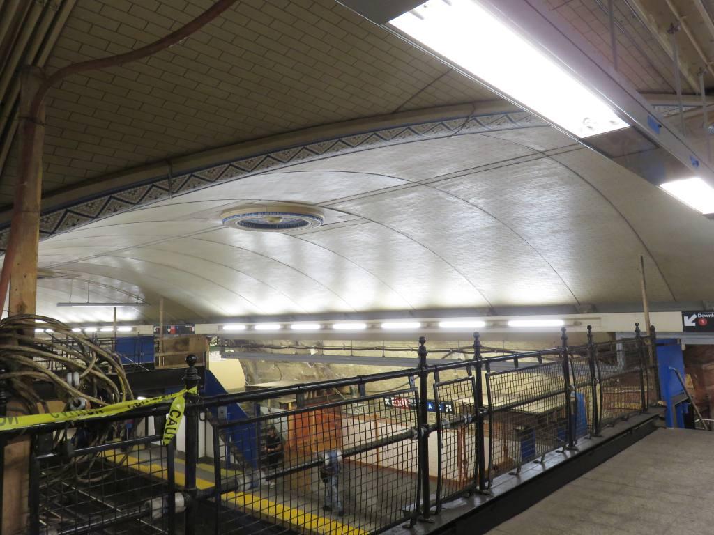 (125k, 1024x768)<br><b>Country:</b> United States<br><b>City:</b> New York<br><b>System:</b> New York City Transit<br><b>Line:</b> IRT West Side Line<br><b>Location:</b> 168th Street <br><b>Photo by:</b> Robbie Rosenfeld<br><b>Date:</b> 5/25/2016<br><b>Notes:</b> Scaffolding has been removed showing renovated ceiling<br><b>Viewed (this week/total):</b> 0 / 1185