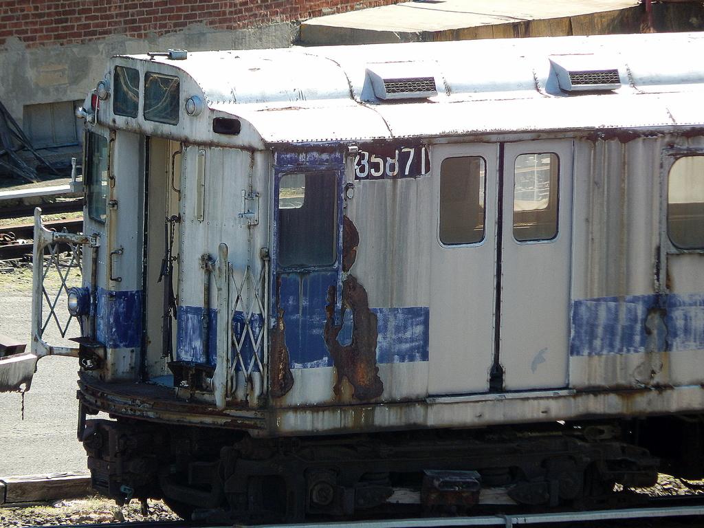 (379k, 1024x768)<br><b>Country:</b> United States<br><b>City:</b> New York<br><b>System:</b> New York City Transit<br><b>Location:</b> 207th Street Yard<br><b>Car:</b> R-12 (American Car & Foundry, 1948) 5871 <br><b>Photo by:</b> Joe Mirabella<br><b>Date:</b> 4/3/2016<br><b>Viewed (this week/total):</b> 1 / 868