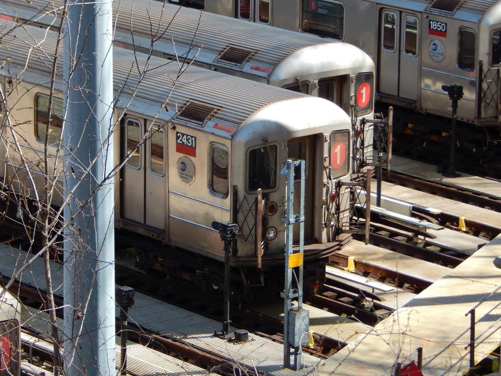 (471k, 1024x768)<br><b>Country:</b> United States<br><b>City:</b> New York<br><b>System:</b> New York City Transit<br><b>Location:</b> 240th Street Yard<br><b>Car:</b> R-62A (Bombardier, 1984-1987)  2431 <br><b>Photo by:</b> Joe Mirabella<br><b>Date:</b> 4/3/2016<br><b>Notes:</b> With 1850 to the right.<br><b>Viewed (this week/total):</b> 0 / 891