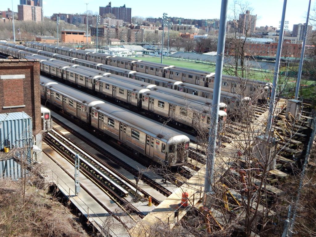 (522k, 1024x768)<br><b>Country:</b> United States<br><b>City:</b> New York<br><b>System:</b> New York City Transit<br><b>Location:</b> 240th Street Yard<br><b>Car:</b> R-62A (Bombardier, 1984-1987)  1880, 2431, 1850, 1454, etc <br><b>Photo by:</b> Joe Mirabella<br><b>Date:</b> 4/3/2016<br><b>Viewed (this week/total):</b> 2 / 1121