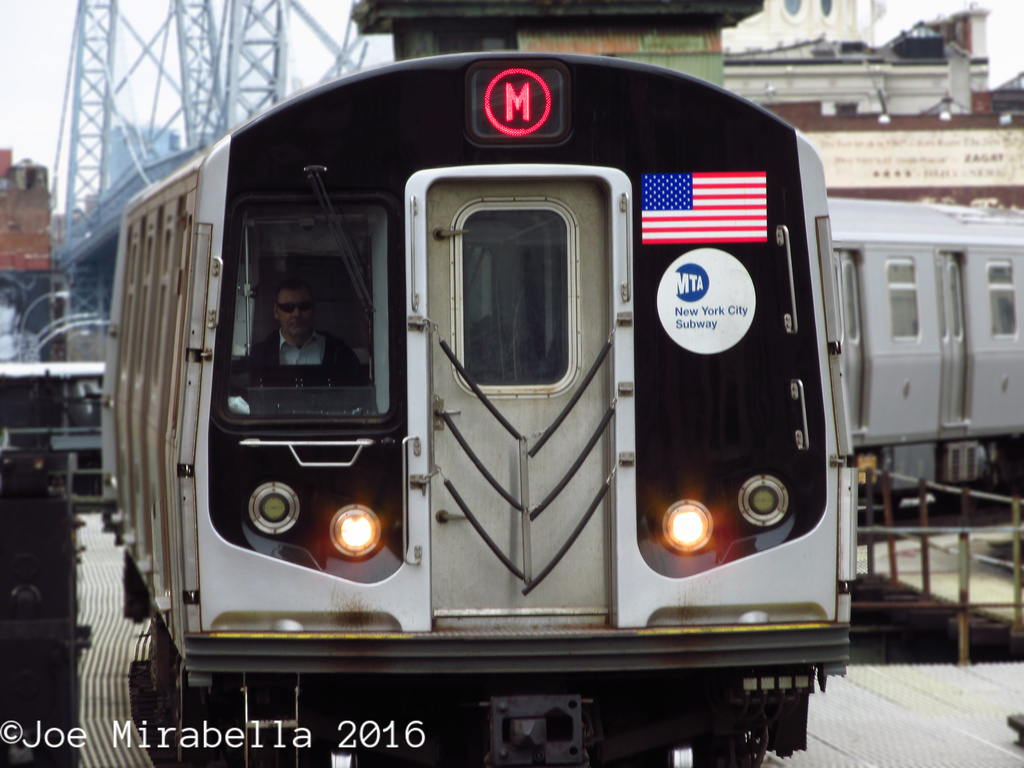 (291k, 1024x768)<br><b>Country:</b> United States<br><b>City:</b> New York<br><b>System:</b> New York City Transit<br><b>Line:</b> BMT Nassau Street/Jamaica Line<br><b>Location:</b> Marcy Avenue <br><b>Route:</b> M<br><b>Car:</b> R-160A/R-160B Series (Number Unknown)  <br><b>Photo by:</b> Joe Mirabella<br><b>Date:</b> 3/19/2016<br><b>Viewed (this week/total):</b> 1 / 711