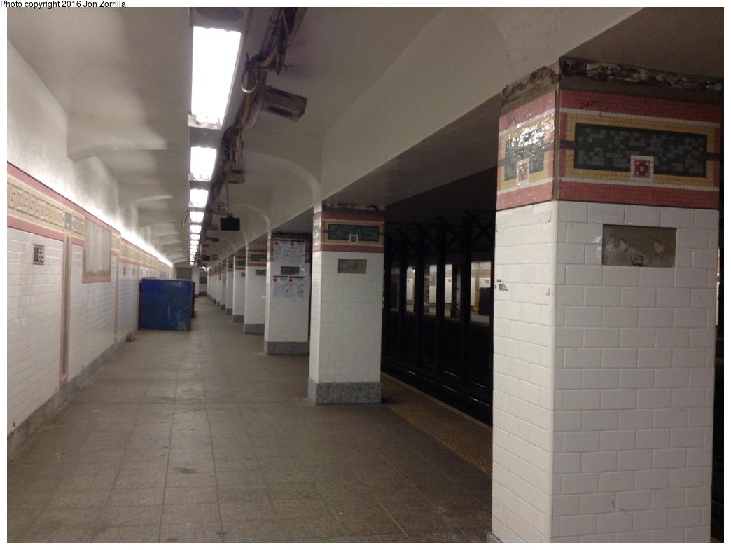 (223k, 1044x785)<br><b>Country:</b> United States<br><b>City:</b> New York<br><b>System:</b> New York City Transit<br><b>Line:</b> IRT West Side Line<br><b>Location:</b> 168th Street <br><b>Photo by:</b> Jon Zorrilla<br><b>Date:</b> 5/19/2016<br><b>Notes:</b> Platform restoration work.<br><b>Viewed (this week/total):</b> 1 / 1108