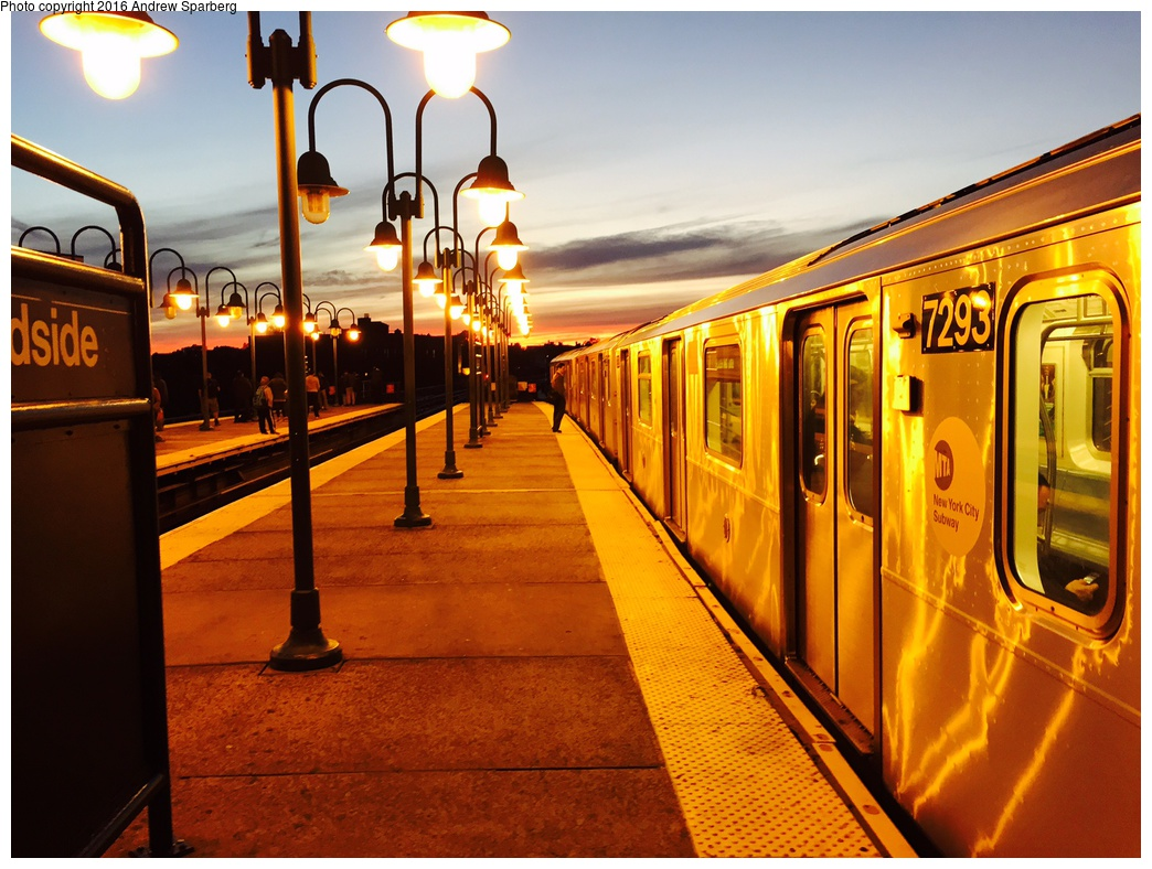 (313k, 1044x788)<br><b>Country:</b> United States<br><b>City:</b> New York<br><b>System:</b> New York City Transit<br><b>Line:</b> IRT Flushing Line<br><b>Location:</b> 61st Street/Woodside <br><b>Route:</b> 7<br><b>Car:</b> R-188 (R-142A Conversion, Kawasaki, 1999-2002) 7293 <br><b>Photo by:</b> Andrew Sparberg<br><b>Date:</b> 10/29/2015<br><b>Viewed (this week/total):</b> 3 / 1271