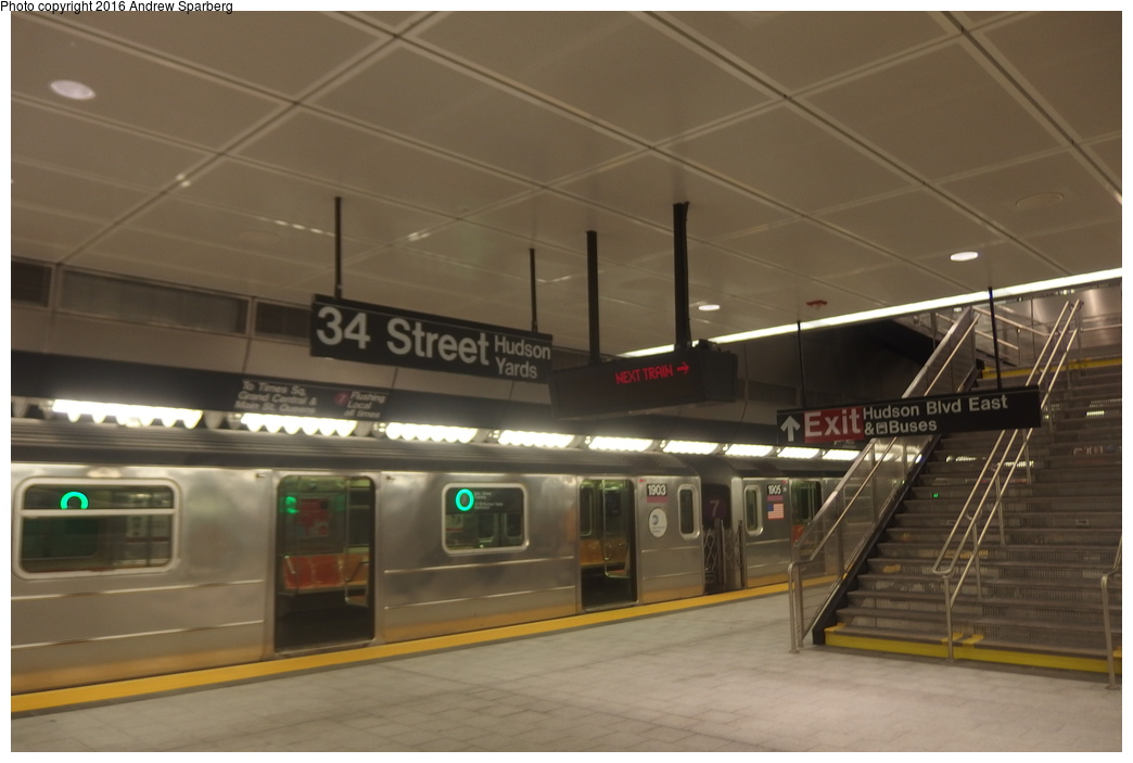 (219k, 1044x703)<br><b>Country:</b> United States<br><b>City:</b> New York<br><b>System:</b> New York City Transit<br><b>Line:</b> IRT Flushing Line<br><b>Location:</b> 34th Street-Hudson Yards <br><b>Route:</b> 7<br><b>Car:</b> R-62A (Bombardier, 1984-1987)  1903 <br><b>Photo by:</b> Andrew Sparberg<br><b>Date:</b> 9/21/2015<br><b>Viewed (this week/total):</b> 0 / 1152