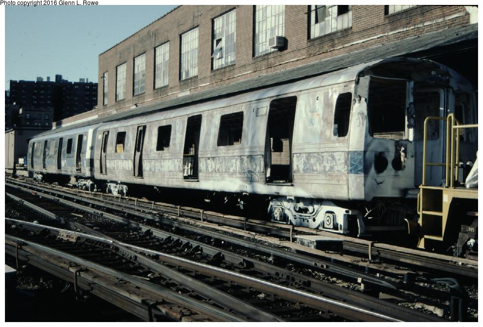 (343k, 980x664)<br><b>Country:</b> United States<br><b>City:</b> New York<br><b>System:</b> New York City Transit<br><b>Location:</b> 207th Street Yard<br><b>Car:</b> R-44 (St. Louis, 1971-73) 120, 109 <br><b>Photo by:</b> Glenn L. Rowe<br><b>Date:</b> 3/19/2001<br><b>Notes:</b> Scrapping.<br><b>Viewed (this week/total):</b> 2 / 1231