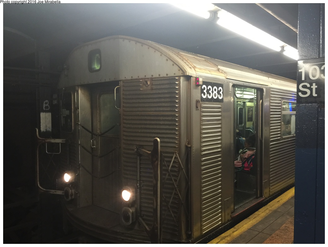 (227k, 1044x788)<br><b>Country:</b> United States<br><b>City:</b> New York<br><b>System:</b> New York City Transit<br><b>Line:</b> IND 8th Avenue Line<br><b>Location:</b> 103rd Street <br><b>Route:</b> C<br><b>Car:</b> R-32 (Budd, 1964)  3383 <br><b>Photo by:</b> Joe Mirabella<br><b>Date:</b> 10/16/2015<br><b>Viewed (this week/total):</b> 8 / 1378