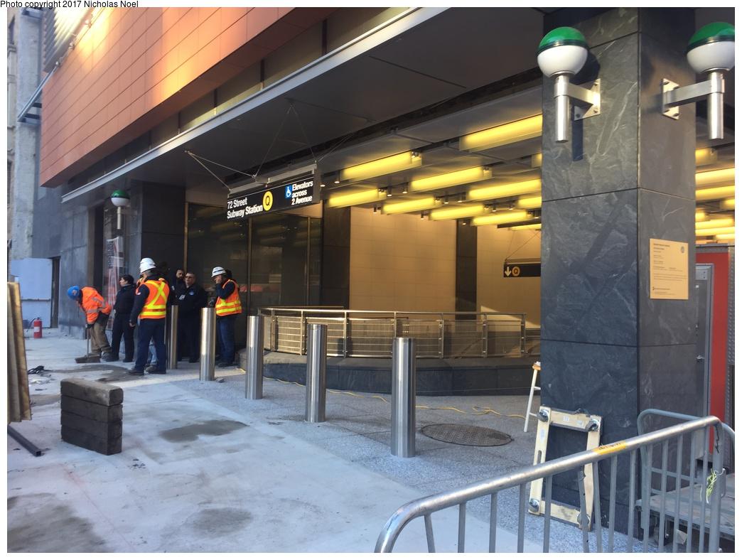 (287k, 1044x788)<br><b>Country:</b> United States<br><b>City:</b> New York<br><b>System:</b> New York City Transit<br><b>Line:</b> 2nd Avenue Subway<br><b>Location:</b> 72nd Street <br><b>Photo by:</b> Nicholas Noel<br><b>Date:</b> 12/30/2016<br><b>Notes:</b> Finishing touches two days before opening.<br><b>Viewed (this week/total):</b> 3 / 644