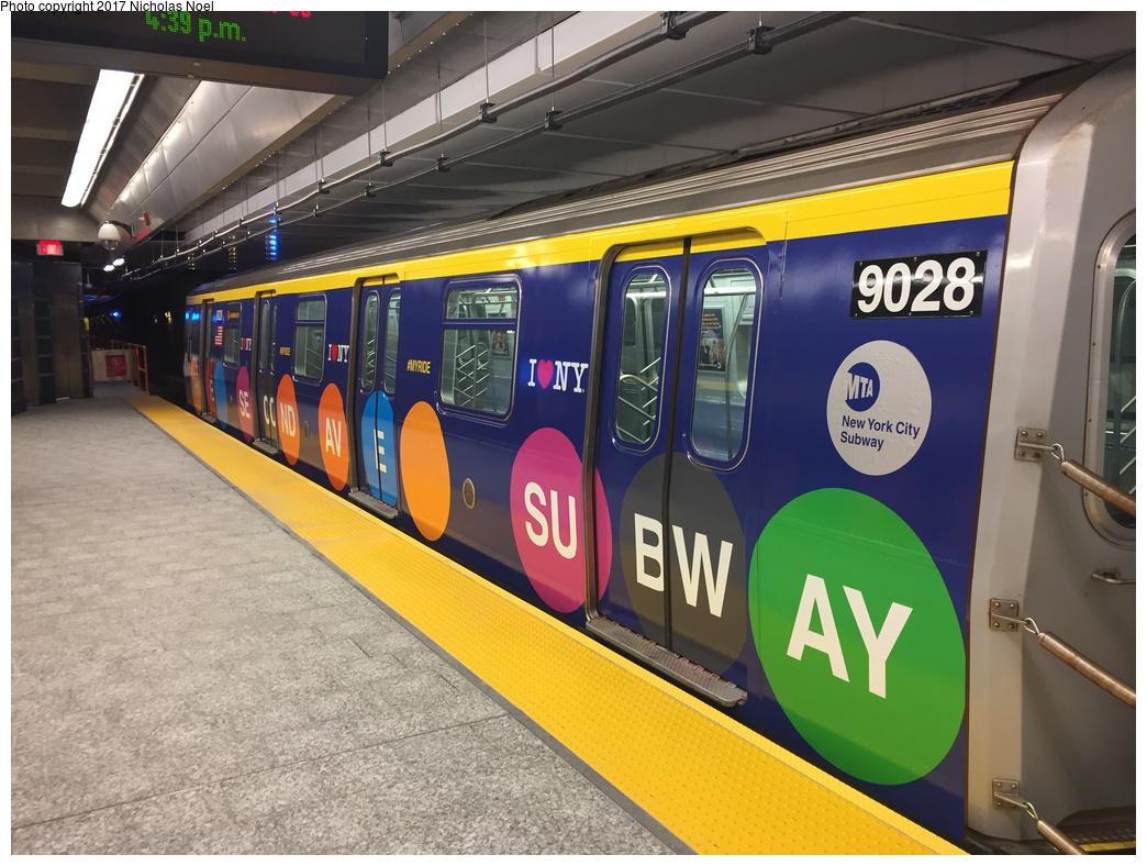 (307k, 1044x788)<br><b>Country:</b> United States<br><b>City:</b> New York<br><b>System:</b> New York City Transit<br><b>Line:</b> 2nd Avenue Subway<br><b>Location:</b> 86th Street <br><b>Car:</b> R-160B (Option 1) (Kawasaki, 2008-2009)  9028 <br><b>Photo by:</b> Nicholas Noel<br><b>Date:</b> 12/30/2016<br><b>Notes:</b> Wrapped train laid up. Open house at 86th Street.<br><b>Viewed (this week/total):</b> 2 / 604