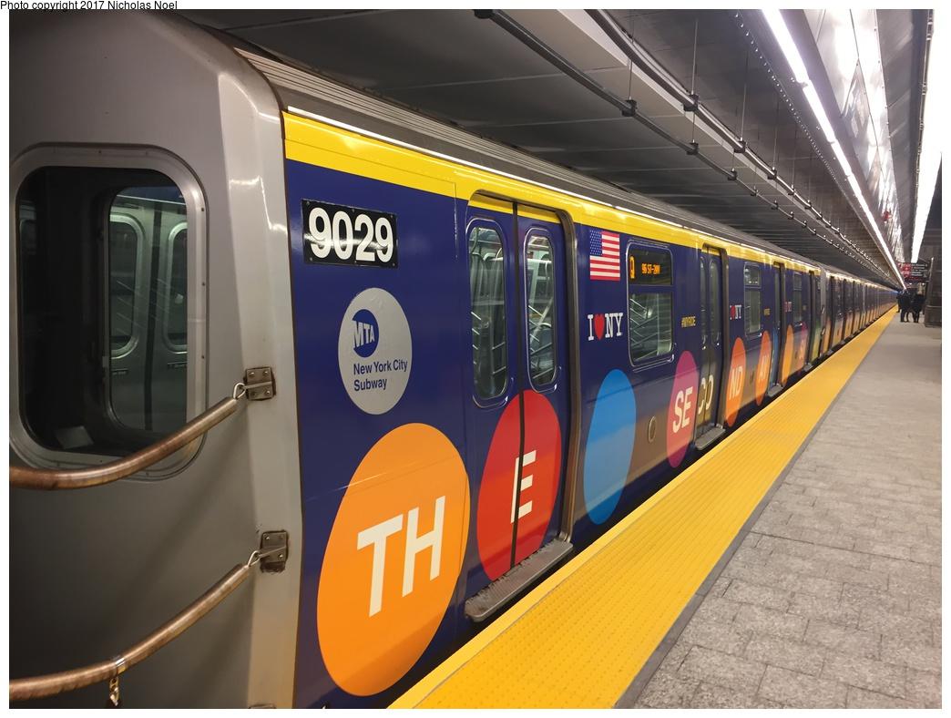 (273k, 1044x788)<br><b>Country:</b> United States<br><b>City:</b> New York<br><b>System:</b> New York City Transit<br><b>Line:</b> 2nd Avenue Subway<br><b>Location:</b> 86th Street <br><b>Car:</b> R-160B (Option 1) (Kawasaki, 2008-2009)  9029 <br><b>Photo by:</b> Nicholas Noel<br><b>Date:</b> 12/30/2016<br><b>Notes:</b> Wrapped train laid up. Open house at 86th Street.<br><b>Viewed (this week/total):</b> 3 / 572