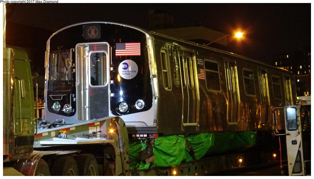 (268k, 1044x596)<br><b>Country:</b> United States<br><b>City:</b> New York<br><b>System:</b> New York City Transit<br><b>Location:</b> 207th Street Yard<br><b>Car:</b> R-179 (Bombardier, 2016-) 3053 <br><b>Photo by:</b> Max Diamond<br><b>Date:</b> 12/21/2016<br><b>Notes:</b> Delivery to 207th St. Yard.<br><b>Viewed (this week/total):</b> 0 / 592