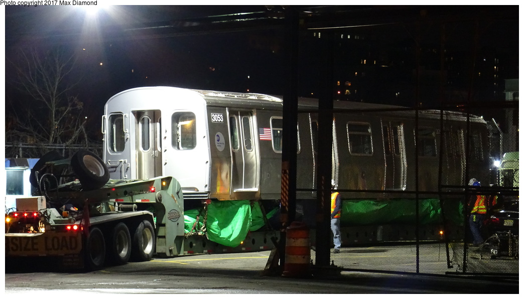 (254k, 1044x596)<br><b>Country:</b> United States<br><b>City:</b> New York<br><b>System:</b> New York City Transit<br><b>Location:</b> 207th Street Yard<br><b>Car:</b> R-179 (Bombardier, 2016-) 3053 <br><b>Photo by:</b> Max Diamond<br><b>Date:</b> 12/21/2016<br><b>Notes:</b> Delivery to 207th St. Yard.<br><b>Viewed (this week/total):</b> 6 / 363