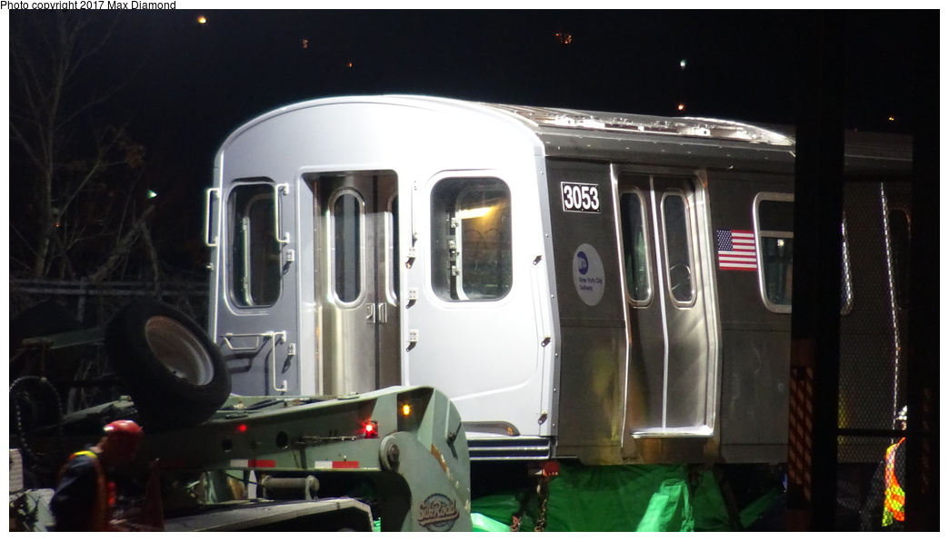 (219k, 1044x596)<br><b>Country:</b> United States<br><b>City:</b> New York<br><b>System:</b> New York City Transit<br><b>Location:</b> 207th Street Yard<br><b>Car:</b> R-179 (Bombardier, 2016-) 3053 <br><b>Photo by:</b> Max Diamond<br><b>Date:</b> 12/21/2016<br><b>Notes:</b> Delivery to 207th St. Yard.<br><b>Viewed (this week/total):</b> 1 / 473