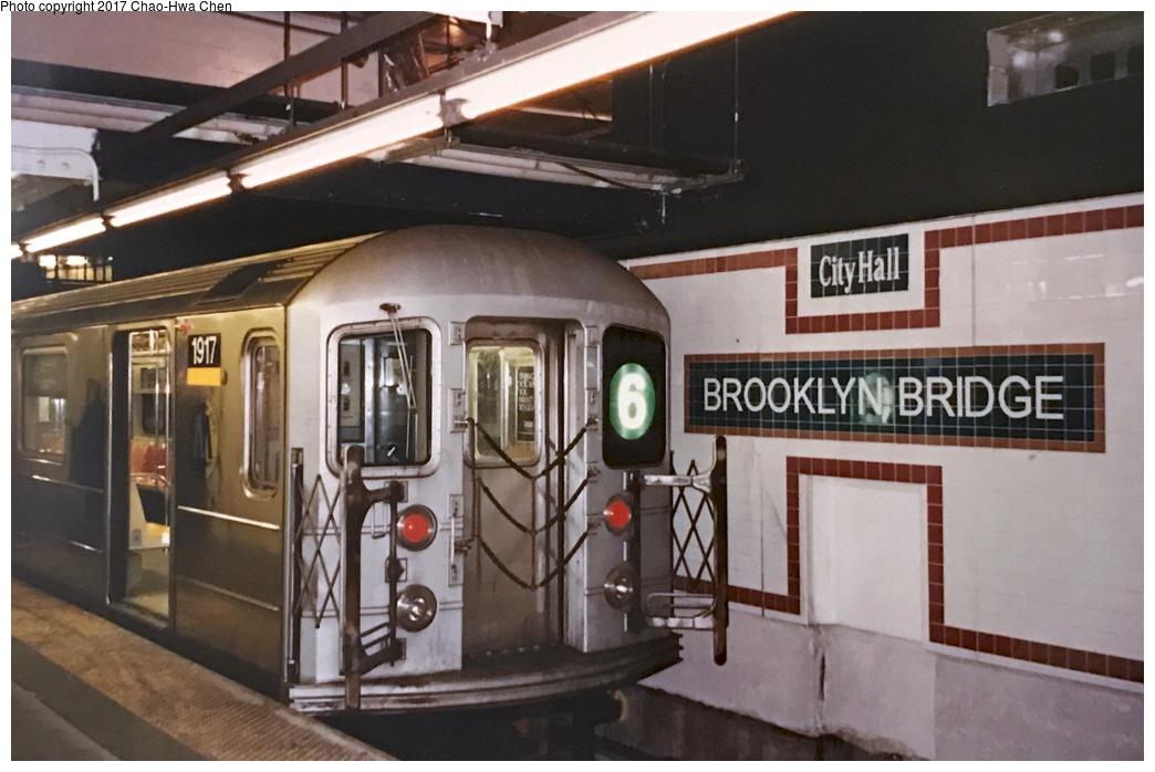(239k, 1044x698)<br><b>Country:</b> United States<br><b>City:</b> New York<br><b>System:</b> New York City Transit<br><b>Line:</b> IRT East Side Line<br><b>Location:</b> Brooklyn Bridge/City Hall <br><b>Route:</b> 6<br><b>Car:</b> R-62A (Bombardier, 1984-1987)  1917 <br><b>Photo by:</b> Chao-Hwa Chen<br><b>Date:</b> 8/26/1995<br><b>Viewed (this week/total):</b> 1 / 467