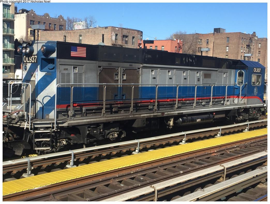 (371k, 1044x788)<br><b>Country:</b> United States<br><b>City:</b> New York<br><b>System:</b> New York City Transit<br><b>Line:</b> IRT West Side Line<br><b>Location:</b> 225th Street<br><b>Route:</b> Work Service<br><b>Car:</b> R-156 Diesel-Electric Locomotive (MPI, 2012-2013) 937 <br><b>Photo by:</b> Nicholas Noel<br><b>Date:</b> 2/17/2017<br><b>Viewed (this week/total):</b> 0 / 808