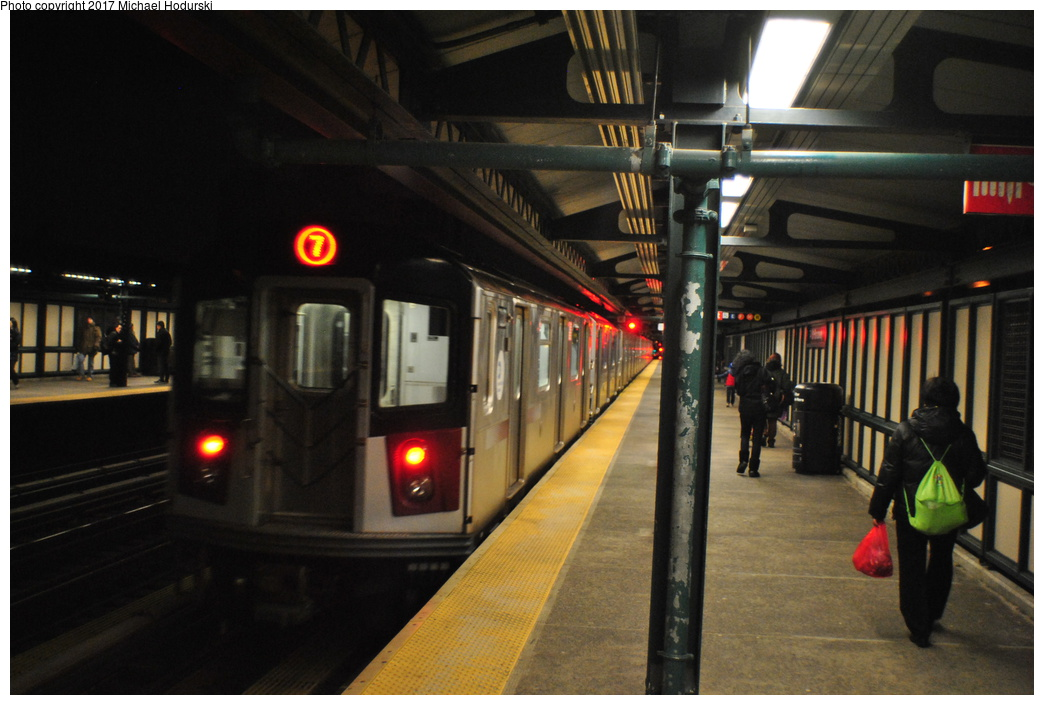 (288k, 1044x705)<br><b>Country:</b> United States<br><b>City:</b> New York<br><b>System:</b> New York City Transit<br><b>Line:</b> BMT Canarsie Line<br><b>Location:</b> Wilson Avenue <br><b>Route:</b> 7<br><b>Car:</b> R-188 (R-142A Conversion, Kawasaki, 1999-2002)  <br><b>Photo by:</b> Michael Hodurski<br><b>Date:</b> 1/20/2014<br><b>Viewed (this week/total):</b> 6 / 378
