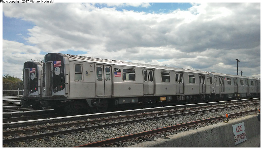 (222k, 1044x596)<br><b>Country:</b> United States<br><b>City:</b> New York<br><b>System:</b> New York City Transit<br><b>Location:</b> Fresh Pond Yard<br><b>Car:</b> R-160A-1 (Alstom, 2005-2008, 4 car sets)  8473 <br><b>Photo by:</b> Michael Hodurski<br><b>Date:</b> 5/8/2017<br><b>Viewed (this week/total):</b> 1 / 431
