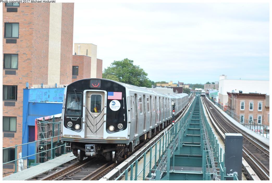 (284k, 1044x705)<br><b>Country:</b> United States<br><b>City:</b> New York<br><b>System:</b> New York City Transit<br><b>Line:</b> BMT Nassau Street/Jamaica Line<br><b>Location:</b> Alabama Avenue <br><b>Route:</b> J<br><b>Car:</b> R-160A (Option 1) (Alstom, 2008-2009, 5 car sets)  9520 <br><b>Photo by:</b> Michael Hodurski<br><b>Date:</b> 7/25/2017<br><b>Viewed (this week/total):</b> 2 / 557