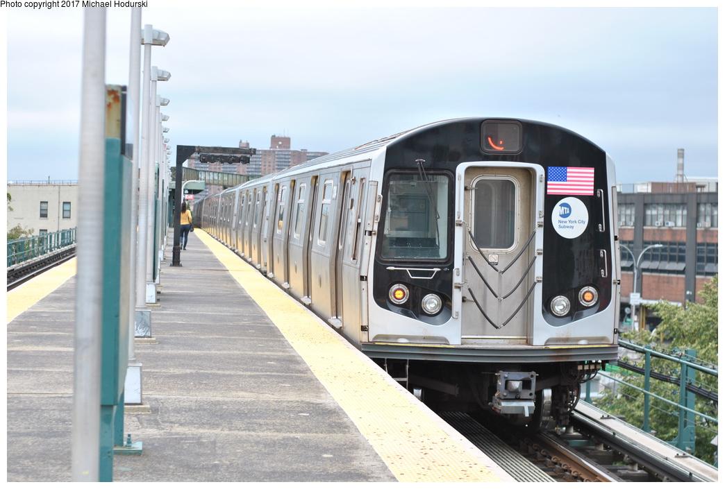 (268k, 1044x705)<br><b>Country:</b> United States<br><b>City:</b> New York<br><b>System:</b> New York City Transit<br><b>Line:</b> BMT Nassau Street/Jamaica Line<br><b>Location:</b> Alabama Avenue <br><b>Route:</b> J<br><b>Car:</b> R-160A (Option 1) (Alstom, 2008-2009, 5 car sets)  9384 <br><b>Photo by:</b> Michael Hodurski<br><b>Date:</b> 7/25/2017<br><b>Viewed (this week/total):</b> 2 / 645