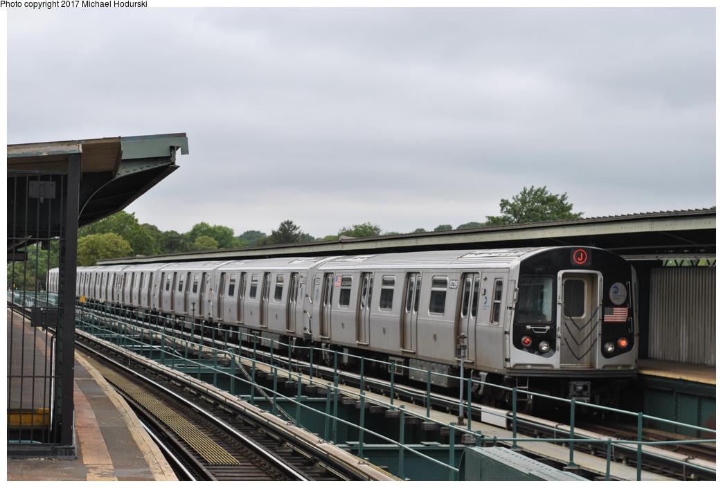 (239k, 1044x705)<br><b>Country:</b> United States<br><b>City:</b> New York<br><b>System:</b> New York City Transit<br><b>Line:</b> BMT Nassau Street/Jamaica Line<br><b>Location:</b> Cypress Hills <br><b>Route:</b> J<br><b>Car:</b> R-143 (Kawasaki, 2001-2002) 8229 <br><b>Photo by:</b> Michael Hodurski<br><b>Date:</b> 7/25/2017<br><b>Viewed (this week/total):</b> 4 / 662