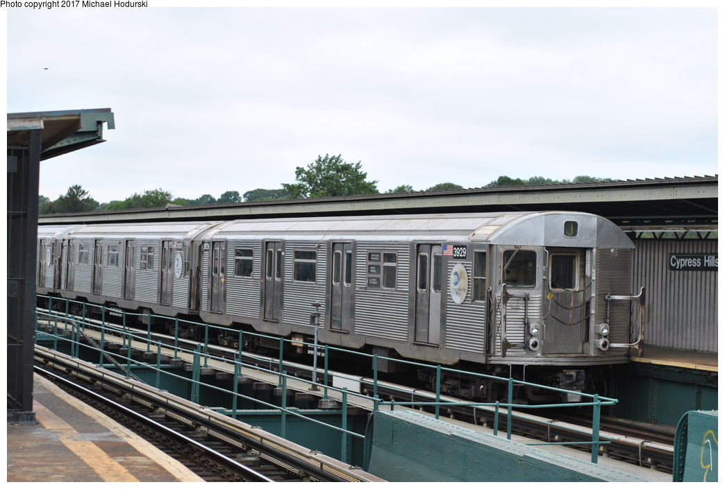 (255k, 1044x705)<br><b>Country:</b> United States<br><b>City:</b> New York<br><b>System:</b> New York City Transit<br><b>Line:</b> BMT Nassau Street/Jamaica Line<br><b>Location:</b> Cypress Hills <br><b>Route:</b> J<br><b>Car:</b> R-32 (Budd, 1964)  3929 <br><b>Photo by:</b> Michael Hodurski<br><b>Date:</b> 7/25/2017<br><b>Viewed (this week/total):</b> 2 / 600