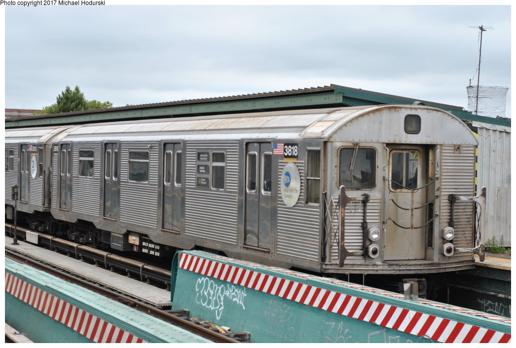 (278k, 1044x705)<br><b>Country:</b> United States<br><b>City:</b> New York<br><b>System:</b> New York City Transit<br><b>Line:</b> BMT Nassau Street/Jamaica Line<br><b>Location:</b> 111th Street <br><b>Route:</b> J<br><b>Car:</b> R-32 (Budd, 1964)  3818 <br><b>Photo by:</b> Michael Hodurski<br><b>Date:</b> 7/25/2017<br><b>Viewed (this week/total):</b> 2 / 580