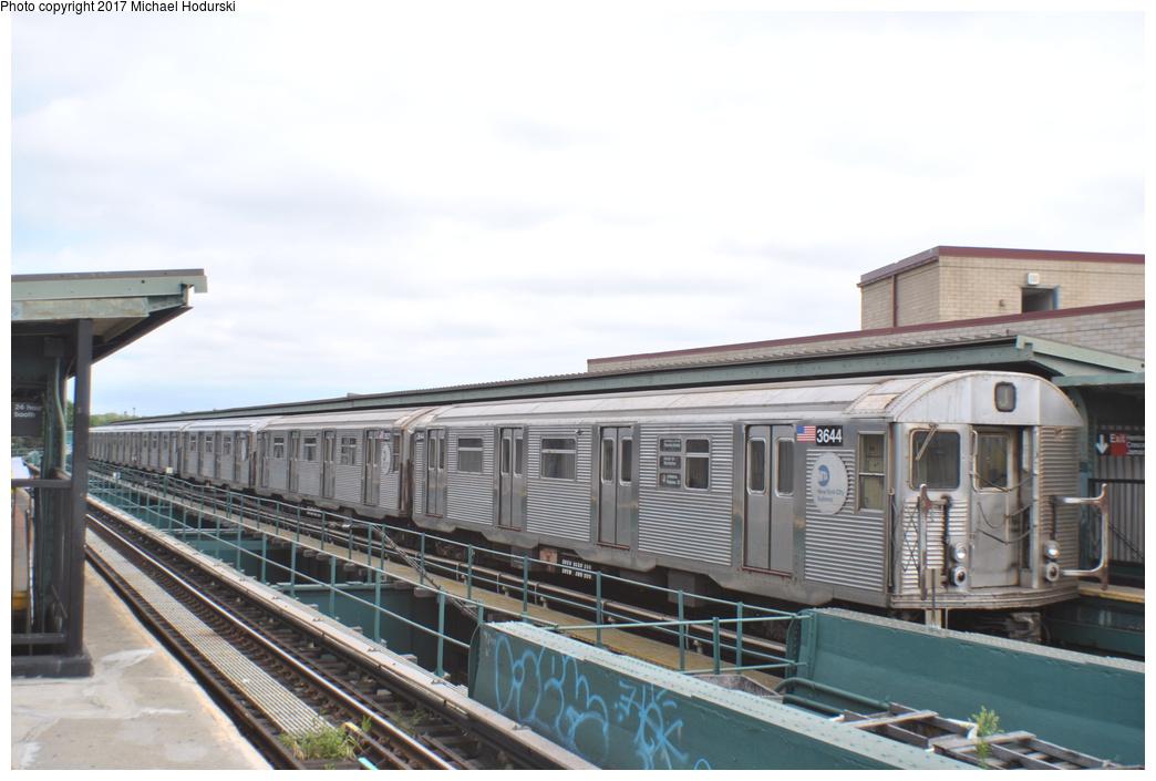 (239k, 1044x705)<br><b>Country:</b> United States<br><b>City:</b> New York<br><b>System:</b> New York City Transit<br><b>Line:</b> BMT Nassau Street/Jamaica Line<br><b>Location:</b> Crescent Street <br><b>Route:</b> J<br><b>Car:</b> R-32 (Budd, 1964)  3644 <br><b>Photo by:</b> Michael Hodurski<br><b>Date:</b> 7/25/2017<br><b>Viewed (this week/total):</b> 2 / 706