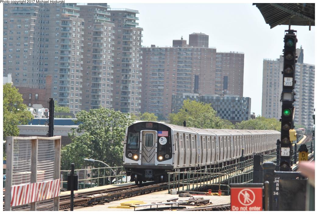(405k, 1044x705)<br><b>Country:</b> United States<br><b>City:</b> New York<br><b>System:</b> New York City Transit<br><b>Line:</b> BMT Culver Line<br><b>Location:</b> Avenue X <br><b>Route:</b> F<br><b>Car:</b> R-160A (Option 2) (Alstom, 2009, 5-car sets)  9677 <br><b>Photo by:</b> Michael Hodurski<br><b>Date:</b> 7/18/2017<br><b>Viewed (this week/total):</b> 2 / 673