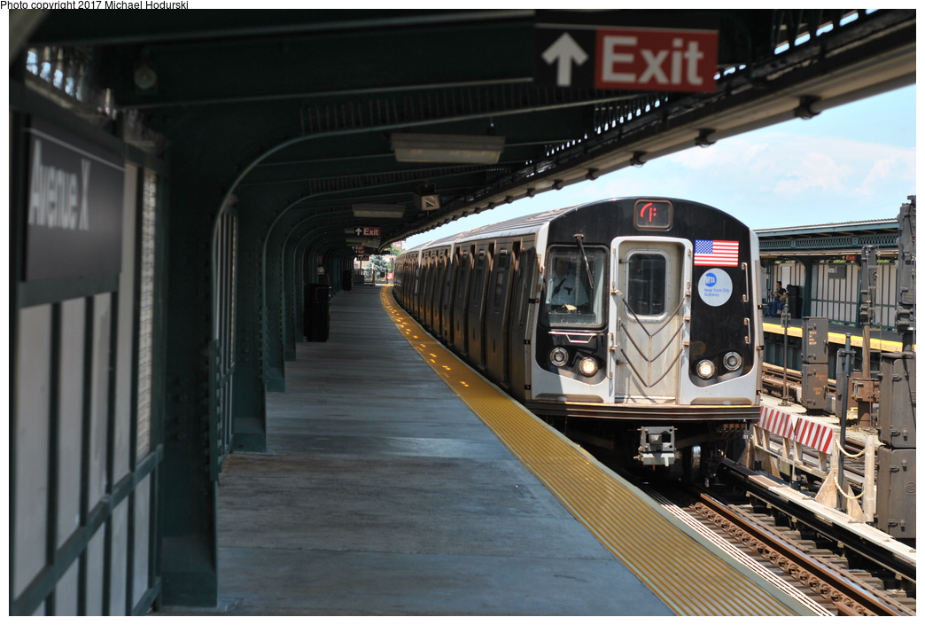 (318k, 1044x705)<br><b>Country:</b> United States<br><b>City:</b> New York<br><b>System:</b> New York City Transit<br><b>Line:</b> BMT Culver Line<br><b>Location:</b> Avenue X <br><b>Route:</b> F<br><b>Car:</b> R-160B (Option 2) (Kawasaki, 2009)  9917 <br><b>Photo by:</b> Michael Hodurski<br><b>Date:</b> 7/18/2017<br><b>Viewed (this week/total):</b> 3 / 794