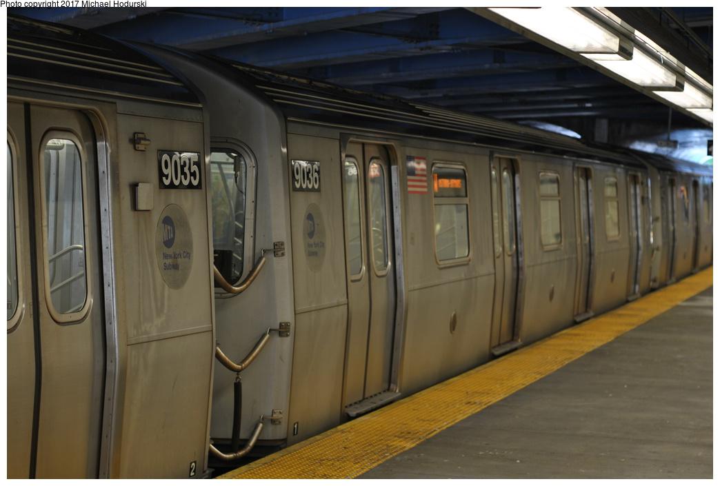 (277k, 1044x705)<br><b>Country:</b> United States<br><b>City:</b> New York<br><b>System:</b> New York City Transit<br><b>Line:</b> BMT Sea Beach Line<br><b>Location:</b> 86th Street <br><b>Route:</b> N<br><b>Car:</b> R-160B (Option 1) (Kawasaki, 2008-2009)  9036 <br><b>Photo by:</b> Michael Hodurski<br><b>Date:</b> 7/18/2017<br><b>Viewed (this week/total):</b> 2 / 684