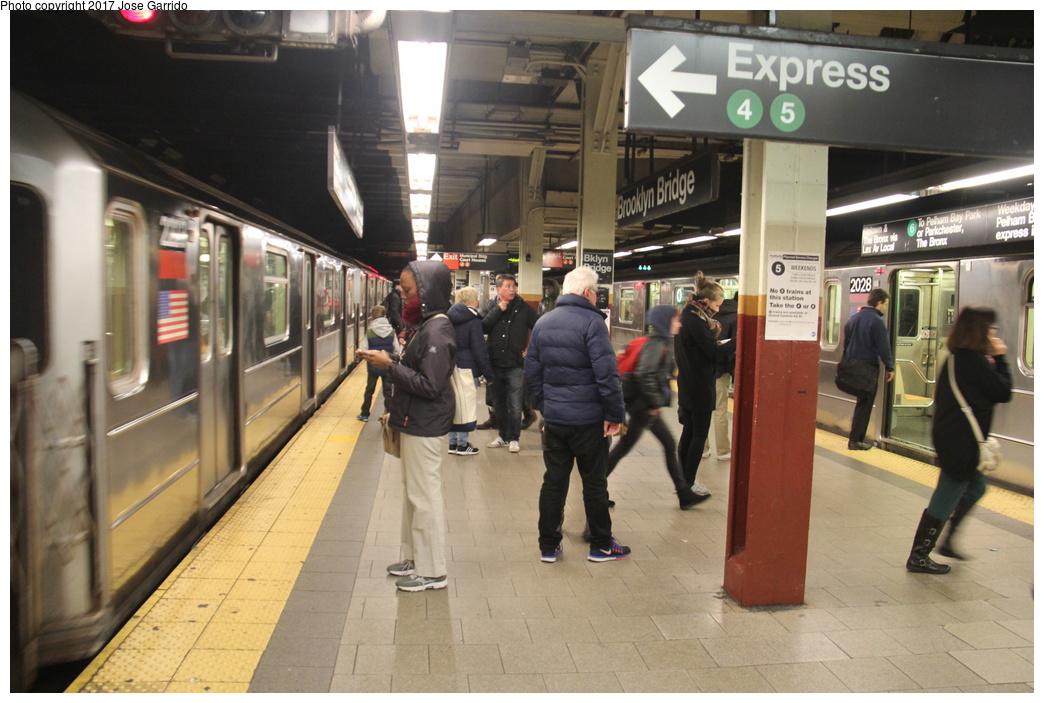 (295k, 1044x703)<br><b>Country:</b> United States<br><b>City:</b> New York<br><b>System:</b> New York City Transit<br><b>Line:</b> IRT East Side Line<br><b>Location:</b> Brooklyn Bridge/City Hall <br><b>Route:</b> 6<br><b>Car:</b> R-62A (Bombardier, 1984-1987)  2223/2028 <br><b>Photo by:</b> Jose Garrido<br><b>Date:</b> 10/28/2016<br><b>Viewed (this week/total):</b> 0 / 705