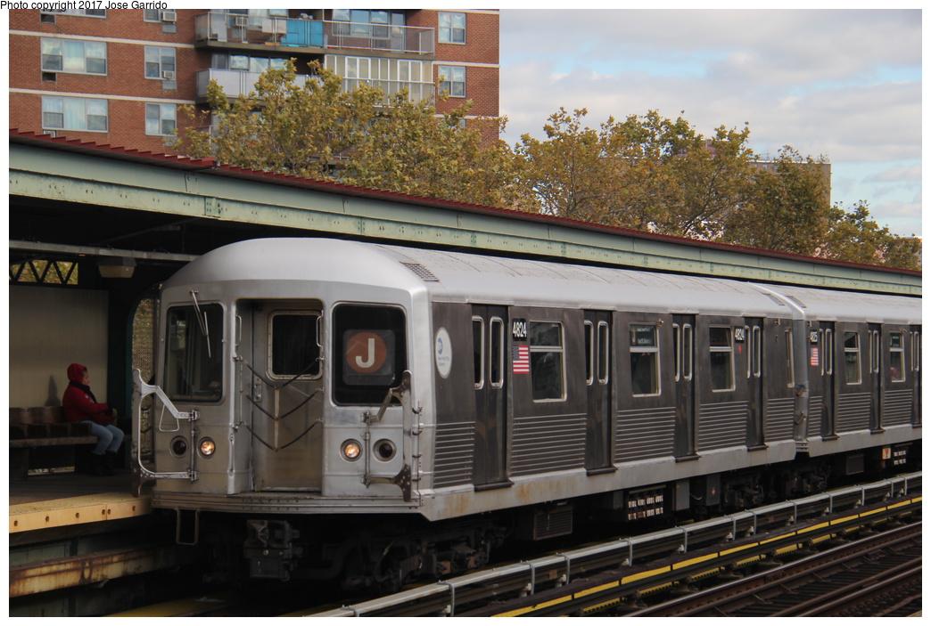 (324k, 1044x703)<br><b>Country:</b> United States<br><b>City:</b> New York<br><b>System:</b> New York City Transit<br><b>Line:</b> BMT Nassau Street/Jamaica Line<br><b>Location:</b> Lorimer Street <br><b>Route:</b> J<br><b>Car:</b> R-42 (St. Louis, 1969-1970)  4824 <br><b>Photo by:</b> Jose Garrido<br><b>Date:</b> 10/28/2016<br><b>Viewed (this week/total):</b> 0 / 619