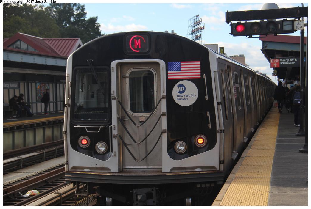 (272k, 1044x703)<br><b>Country:</b> United States<br><b>City:</b> New York<br><b>System:</b> New York City Transit<br><b>Line:</b> BMT Nassau Street/Jamaica Line<br><b>Location:</b> Marcy Avenue <br><b>Route:</b> M<br><b>Car:</b> R-160A-1 (Alstom, 2005-2008, 4 car sets)  8560 <br><b>Photo by:</b> Jose Garrido<br><b>Date:</b> 10/28/2016<br><b>Viewed (this week/total):</b> 0 / 405