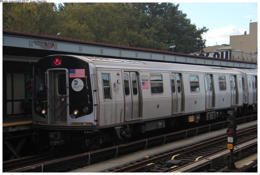(283k, 1044x703)<br><b>Country:</b> United States<br><b>City:</b> New York<br><b>System:</b> New York City Transit<br><b>Line:</b> BMT Nassau Street/Jamaica Line<br><b>Location:</b> Marcy Avenue <br><b>Route:</b> M<br><b>Car:</b> R-160A-1 (Alstom, 2005-2008, 4 car sets)  8524 <br><b>Photo by:</b> Jose Garrido<br><b>Date:</b> 10/28/2016<br><b>Viewed (this week/total):</b> 0 / 554