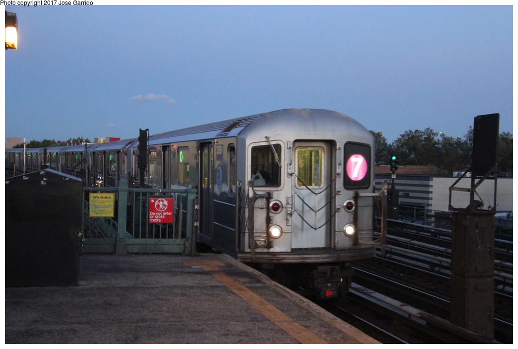 (245k, 1044x703)<br><b>Country:</b> United States<br><b>City:</b> New York<br><b>System:</b> New York City Transit<br><b>Line:</b> IRT Flushing Line<br><b>Location:</b> 103rd Street/Corona Plaza <br><b>Route:</b> 7<br><b>Car:</b> R-62A (Bombardier, 1984-1987)  2091 <br><b>Photo by:</b> Jose Garrido<br><b>Date:</b> 10/28/2016<br><b>Viewed (this week/total):</b> 0 / 578