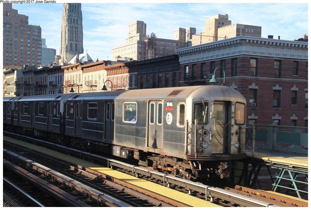 (363k, 1044x703)<br><b>Country:</b> United States<br><b>City:</b> New York<br><b>System:</b> New York City Transit<br><b>Line:</b> IRT West Side Line<br><b>Location:</b> 125th Street <br><b>Route:</b> 1<br><b>Car:</b> R-62A (Bombardier, 1984-1987)  1846 <br><b>Photo by:</b> Jose Garrido<br><b>Date:</b> 11/8/2016<br><b>Viewed (this week/total):</b> 0 / 681