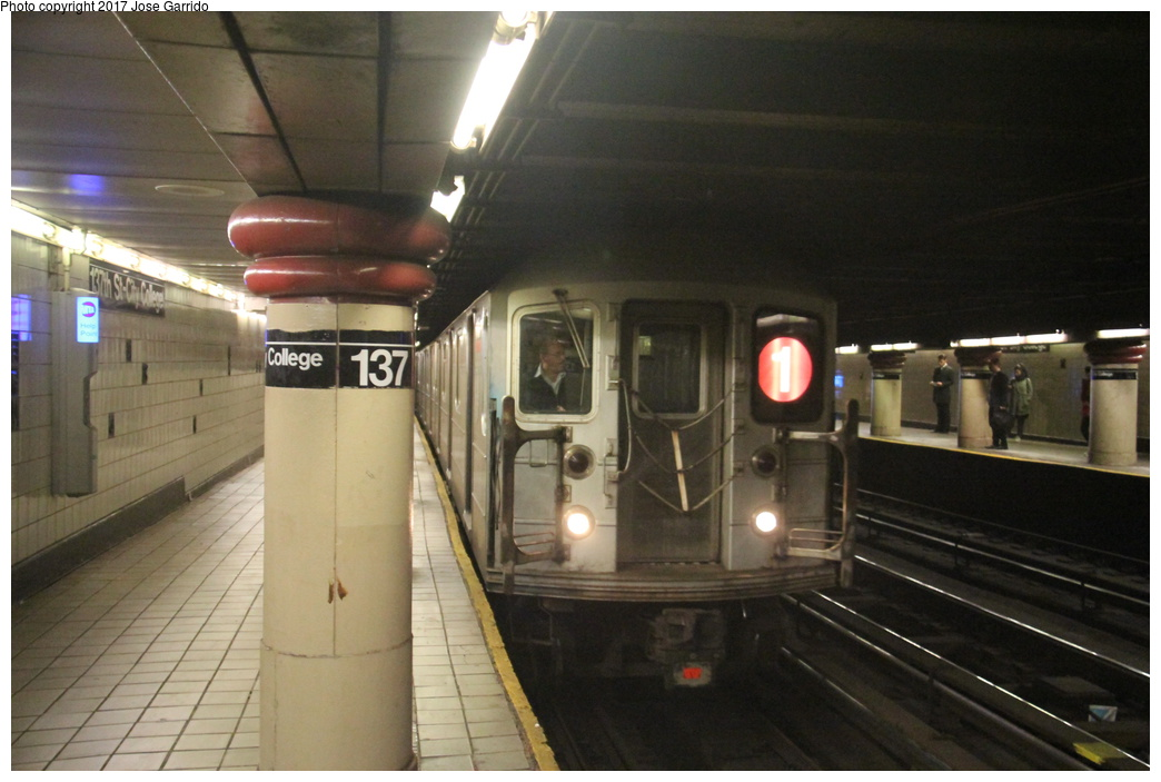 (260k, 1044x703)<br><b>Country:</b> United States<br><b>City:</b> New York<br><b>System:</b> New York City Transit<br><b>Line:</b> IRT West Side Line<br><b>Location:</b> 137th Street/City College <br><b>Route:</b> 1<br><b>Car:</b> R-62A (Bombardier, 1984-1987)  1851 <br><b>Photo by:</b> Jose Garrido<br><b>Date:</b> 11/8/2016<br><b>Viewed (this week/total):</b> 0 / 900
