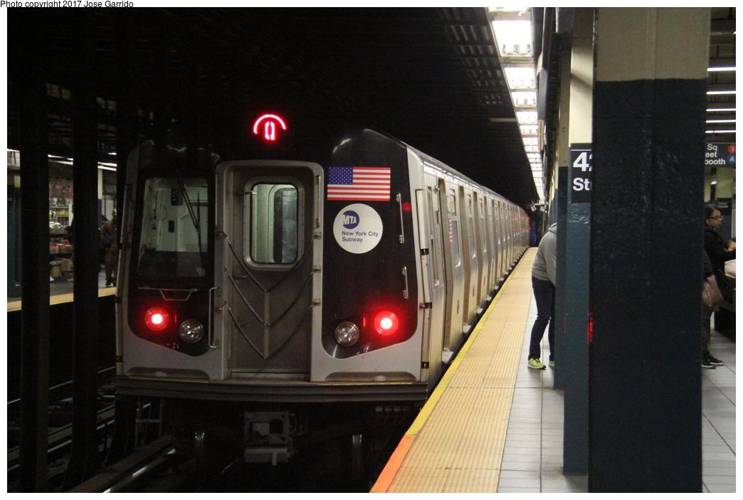 (257k, 1044x703)<br><b>Country:</b> United States<br><b>City:</b> New York<br><b>System:</b> New York City Transit<br><b>Line:</b> BMT Broadway Line<br><b>Location:</b> Times Square/42nd Street <br><b>Route:</b> Q<br><b>Car:</b> R-160B (Option 1) (Kawasaki, 2008-2009)  9002 <br><b>Photo by:</b> Jose Garrido<br><b>Date:</b> 11/8/2016<br><b>Viewed (this week/total):</b> 0 / 683