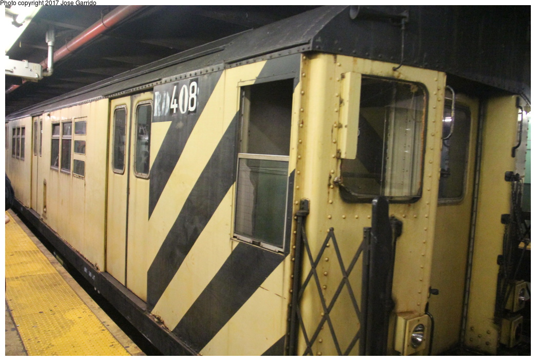 (281k, 1044x703)<br><b>Country:</b> United States<br><b>City:</b> New York<br><b>System:</b> New York City Transit<br><b>Line:</b> IND Queens Boulevard Line<br><b>Location:</b> 71st/Continental Aves./Forest Hills <br><b>Route:</b> Work Service<br><b>Car:</b> R-161 Rider Car (ex-R-33)  RD408 <br><b>Photo by:</b> Jose Garrido<br><b>Date:</b> 11/19/2016<br><b>Viewed (this week/total):</b> 0 / 554