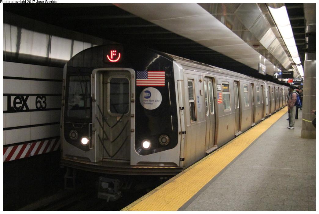 (266k, 1044x703)<br><b>Country:</b> United States<br><b>City:</b> New York<br><b>System:</b> New York City Transit<br><b>Line:</b> IND 63rd Street<br><b>Location:</b> Lexington Avenue-63rd Street <br><b>Route:</b> F<br><b>Car:</b> R-160A (Option 2) (Alstom, 2009, 5-car sets)  9688 <br><b>Photo by:</b> Jose Garrido<br><b>Date:</b> 11/20/2016<br><b>Viewed (this week/total):</b> 2 / 611